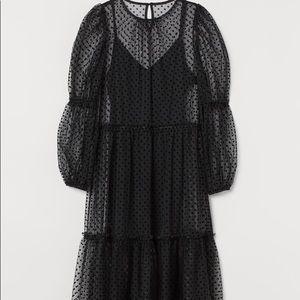 H&M POLKA DOT TULLE Layer Puff Sleeve Midi Dress
